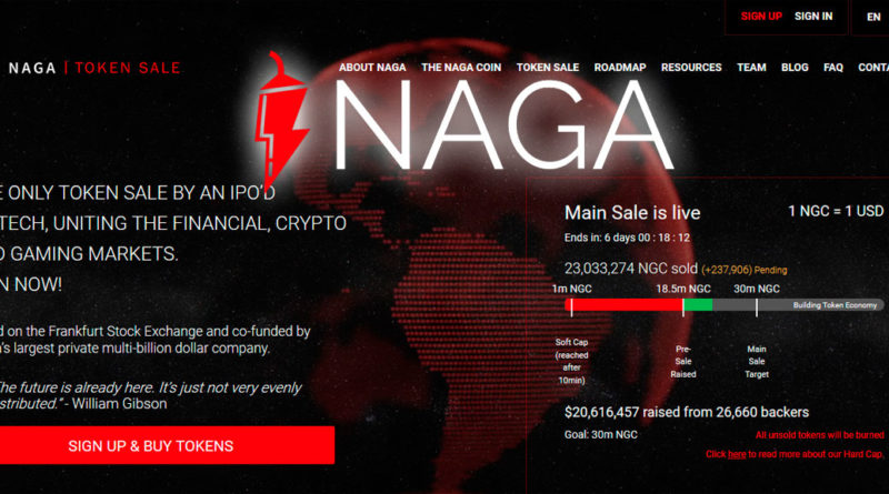 New and promising cryptocurrency NAGA Coin closes Token sale on December 15