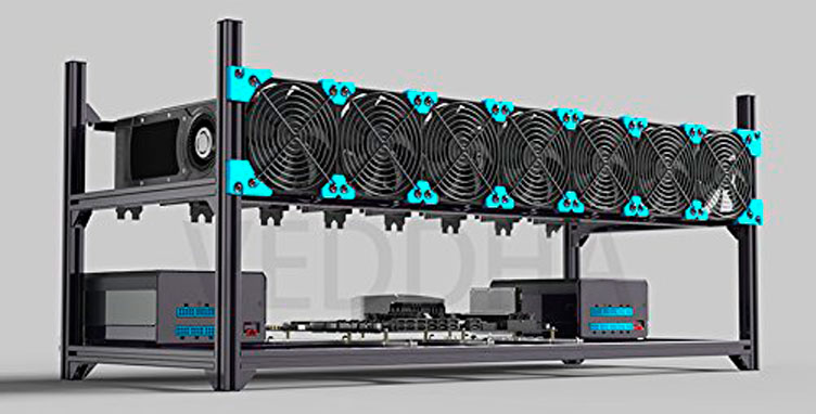 Veddha Minercase X8 8-GPU Aluminum Stackable Mining Rig Open Air Frame Case ETH/ETC/ ZCash
