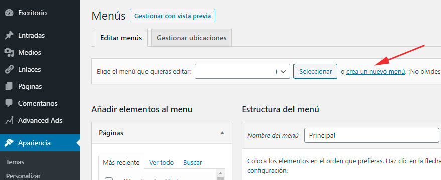 como crer un menu en wordpress
