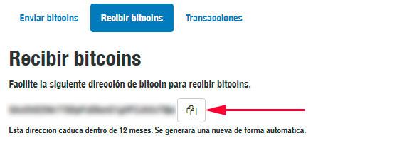 Verás la dirección para recibir Bitcoin en tu monedero. Copia la dirección.