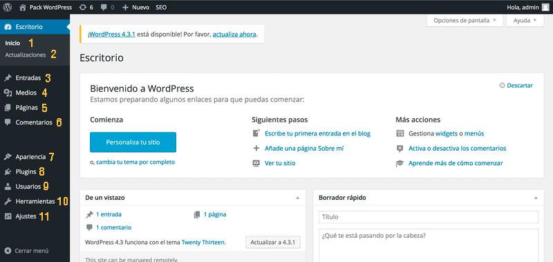 conociendo el escritorio de wordpress